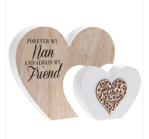 Freestanding double heart NAN plaque - The Perfect Gift Co.