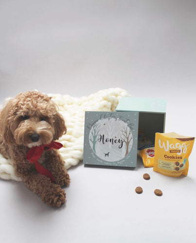 Personalised Wooden Doggy Christmas Treat box 20cm