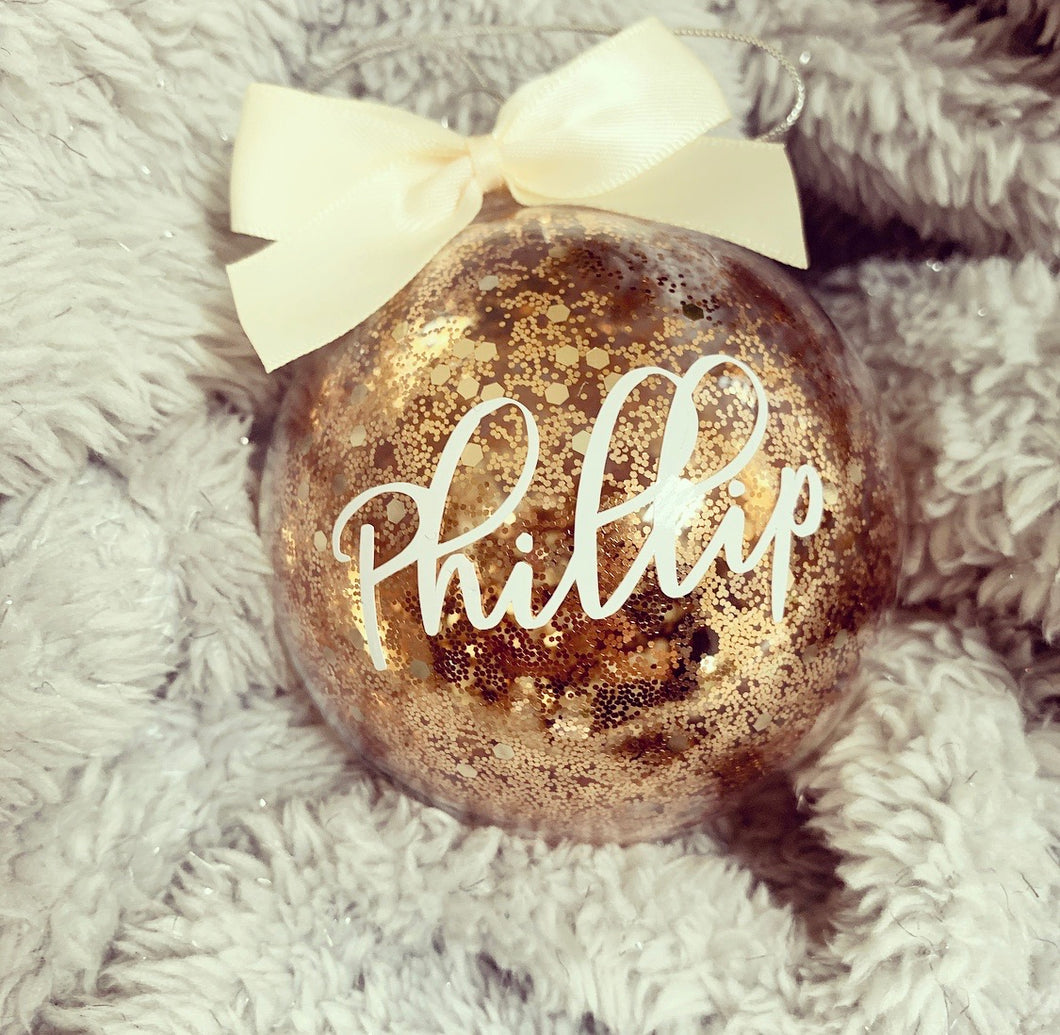 Personalised Bronze Chunky Glitter Glass Bauble 8cm - The Perfect Gift Co.