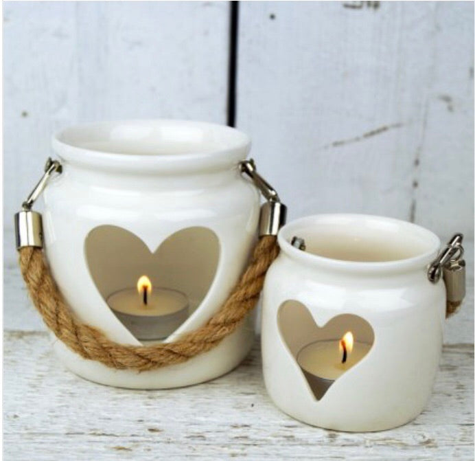 Set of 2 porcelain heart lantern with rope t-light holder / candle ( NOT BURNER) last set - The Perfect Gift Co.