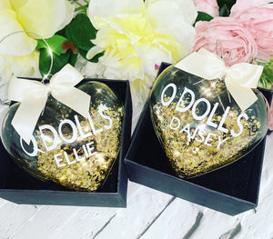 Gold & White Christmas Bauble 8cm