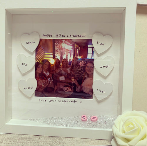 """Happy 30th Birthday"" Frame  (any milestone, leave at checkout) bridesmaid"