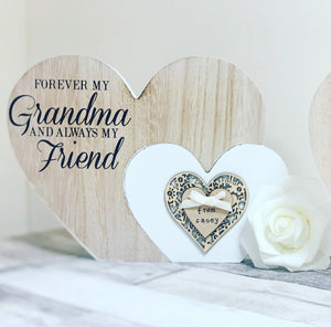 Freestanding double heart Grandma plaque - The Perfect Gift Co.