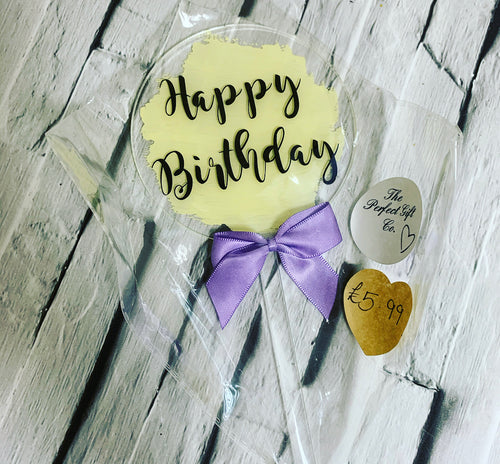 Happy birthday cake topper, yellow - ready to post!