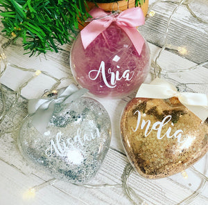 Personalised Gold/ Bronze Chunky Glitter Glass Bauble 8cm heart - The Perfect Gift Co.