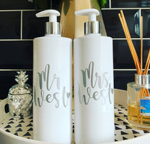 "Mr & Mrs ""surname"" pump bottles / wedding gift"