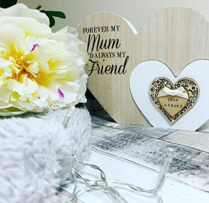 Freestanding double heart Mum plaque