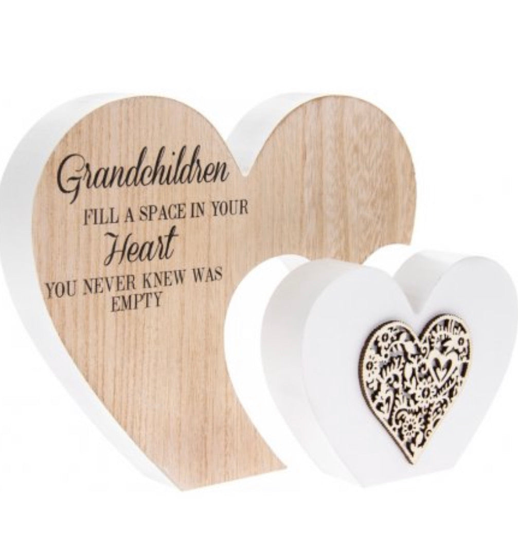 Freestanding Double Heart Grandchildren Plaque - Large - The Perfect Gift Co.