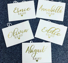 Personalised wedding white bag with gold font 35x24cm - The Perfect Gift Co.