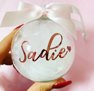 Personalised White feathered Glass Bauble 8cm Rose Gold - The Perfect Gift Co.