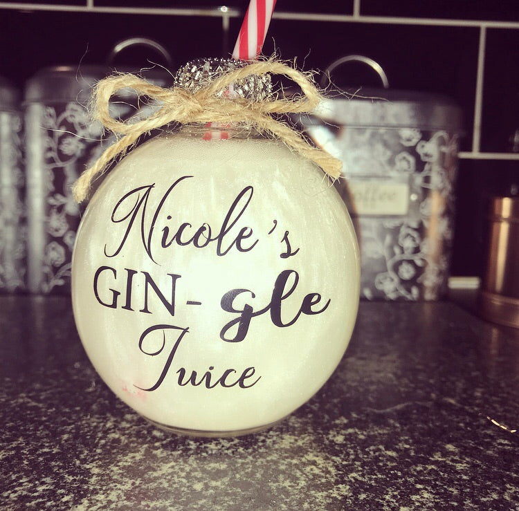 "Personalised Name Drinking Bauble Gin ""juice"" - The Perfect Gift Co."