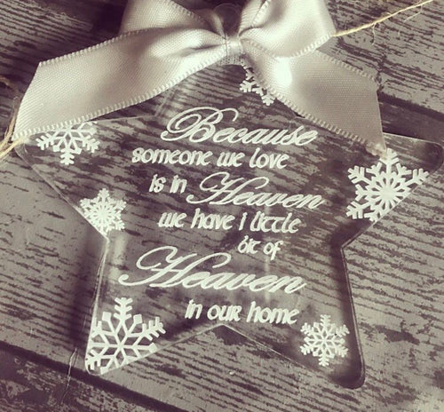 Heaven Acrylic Star bauble (leave bow choice at checkout) - The Perfect Gift Co.