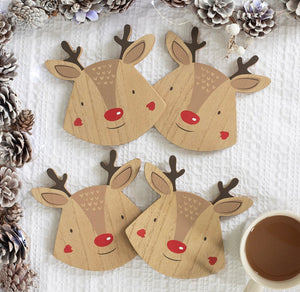 Reindeer Coasters set of 4