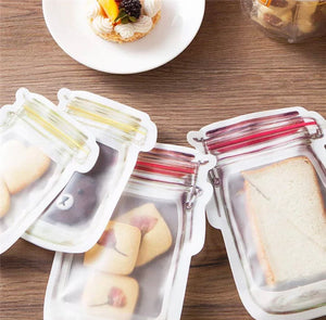 Reusable Mason Jar Storage Zip Lock Bag Bundle 10pc - The Perfect Gift Co.