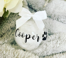 Personalised Dog Glass Bauble Black writing