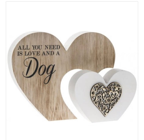 Freestanding Double Heart Dog plaque - The Perfect Gift Co.