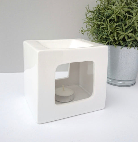 Cubic Ceramic Burner - White