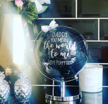 Personalised Silver / Black Globe 28cm - The Perfect Gift Co.