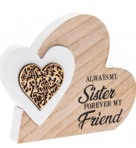 Sister Freestanding Double Heart Plaque - Small