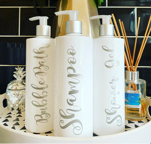 "NEW Personalised Pump Bottle ""any wording"" (SILVER SKYE)"