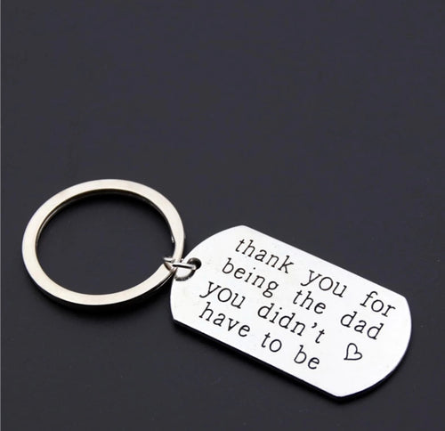 Novelty Mini Stainless Steel step dad Keyring - The Perfect Gift Co.