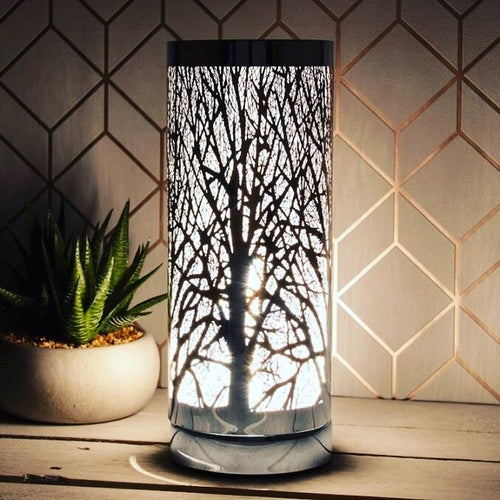 Silver woodland pattern touch lamp