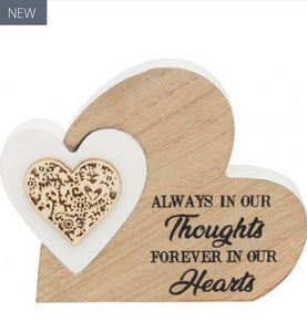 Freestanding Double Heart Thoughts Plaque - Small - The Perfect Gift Co.