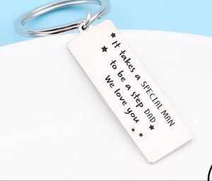 Novelty Mini Stainless Steel step dad Keyring style 2 - The Perfect Gift Co.
