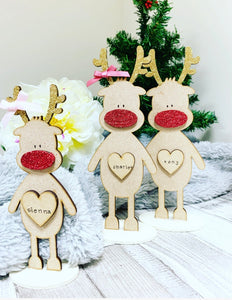 Freestanding 10cm Personalised Reindeer BROWN - The Perfect Gift Co.