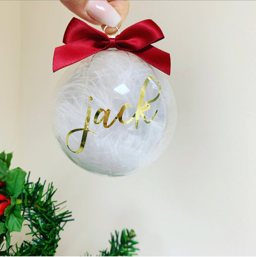 Personalised White feathered Glass Bauble Gold writing 8cm - The Perfect Gift Co.