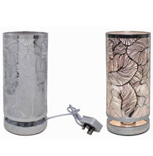 Silver leaf pattern touch lamp