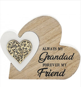 Freestanding small  Double Heart - Grandad - The Perfect Gift Co.