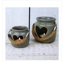 Set of 2 Grey porcelain heart lantern with rope t-light holder / candle ( NOT BURNER) - The Perfect Gift Co.