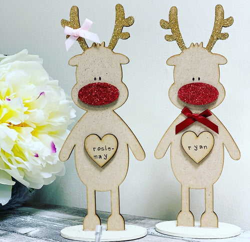 Freestanding 20cm Personalised Reindeer BROWN - The Perfect Gift Co.