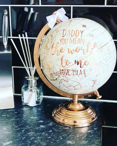 Personalised Cream& Gold Globe 28cm / World / Globes (1 left for Christmas delivery) - The Perfect Gift Co.