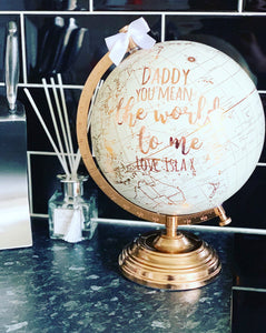 Personalised Cream& Gold Globe 28cm / World / Globes - The Perfect Gift Co.