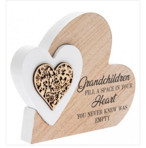 Freestanding small Double Heart Grandchildren Plaque - The Perfect Gift Co.