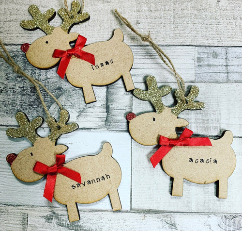 Personalised Reindeer Bauble ( no cut out) - The Perfect Gift Co.