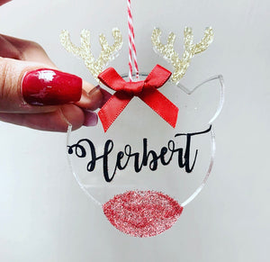 Personalised Acrylic Reindeer Bauble 8cm - The Perfect Gift Co.