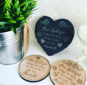 Personalised Teacher Wooden Coaster style 1 - The Perfect Gift Co.