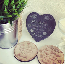 Personalised Teacher Wooden Coaster style 2 - The Perfect Gift Co.