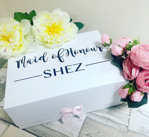 Personalised bridesmaid / maid of honour Box With Ribbon Tab 280 x 220 x 110mm DIY - The Perfect Gift Co.