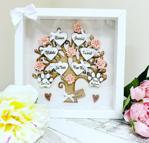 Family Tree Frame Cream/ White & Blush Pink