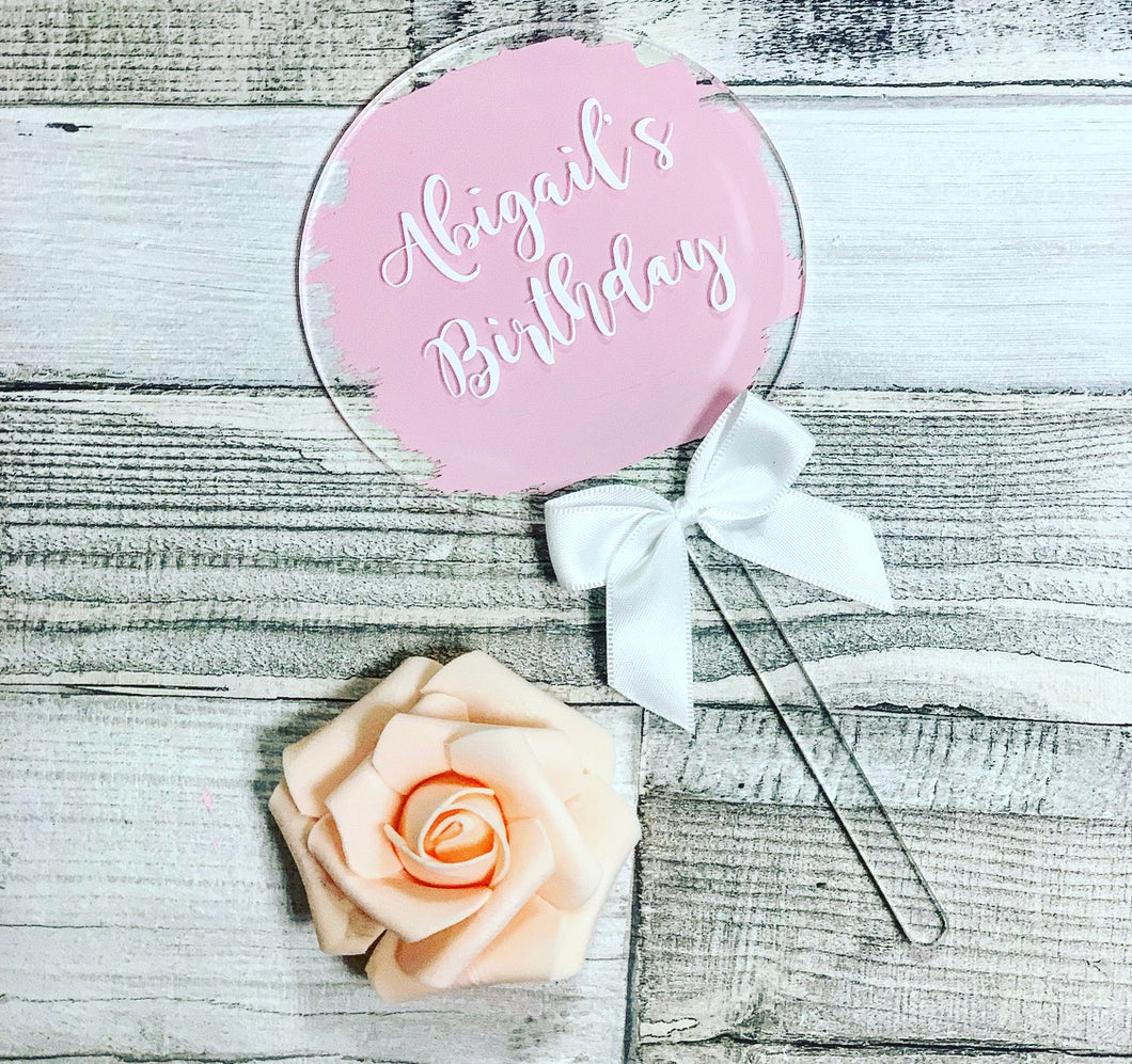 PERSONALISED CAKE TOPPER -PINK - The Perfect Gift Co.