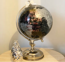 Personalised Black / silver Vinyl Globe 30cm / World / Globes - The Perfect Gift Co.