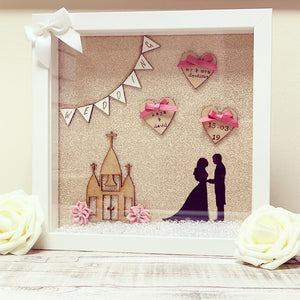 Wedding Frame Gold Backdrop shadow figures - The Perfect Gift Co.