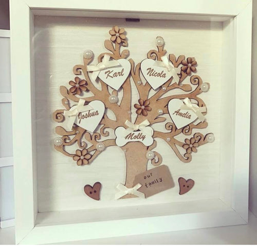 Family Tree Frame Cream & Ivory embellishments, wooden flowers - The Perfect Gift Co.