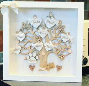 Family Tree Frame Cream/ Ivory Acrylic & Wooden Flowers - The Perfect Gift Co.