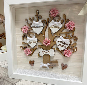Family Tree Frame Cream/ White & Pink - The Perfect Gift Co.
