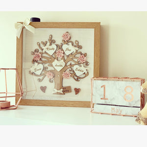 Family Tree Frame Cream/ White & Blush Pink - The Perfect Gift Co.